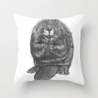beaver Throw Pillows featuring Beaver by Nasir Nadzir