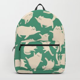 White Cats Pattern Backpack