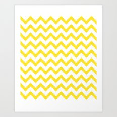 funky chevron yellow pattern Art Print