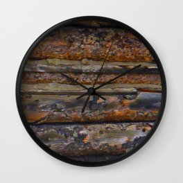 Aged Log Cabin rustic decor Wall Clock