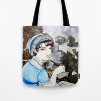 jane austen Tote Bags featuring Jane Austen by Makissima