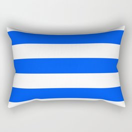 Blue (RYB) - solid color - white stripes pattern Rectangular Pillow