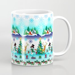 Christmas, Snowman Lawn Party with Friends Coffee Mug