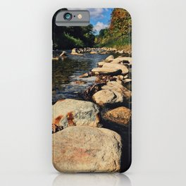 Rock path in the midlle of the river iPhone Case