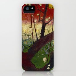 Flowering plum orchard by Vincent van Gogh, 1887 iPhone Case