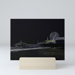 Black Neon Santa Monica Pier Mini Art Print