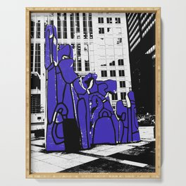 Chicago art print - art sculpture, 'Monument with Standing Beast' - urban photography Serving Tray