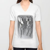 robots V-neck T-shirts featuring Robots by Carlo Toffolo