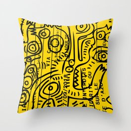 Yellow Street Art Graffiti Train Ticket Throw Pillow