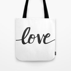 Love Black Tote Bag