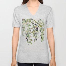 Olive Branch Watercolor  Unisex V-Neck