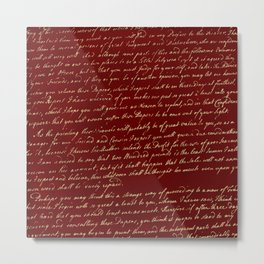 Red Script Metal Print