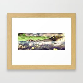 Bed from a River [Digital Figure Illustration] Green Grass and Skyline version Framed Art Print