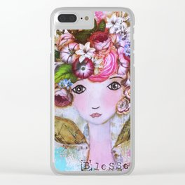 Bright Blessed Girl Clear iPhone Case