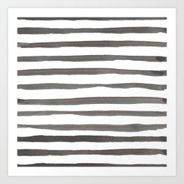 Watercolor Stripes | Black and White | Nautical Art Print