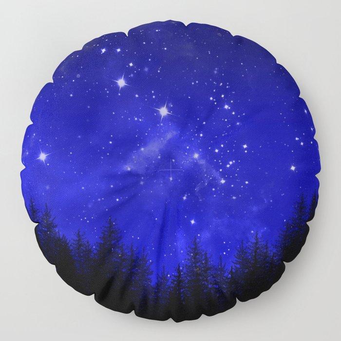 Blue Galaxy Forest Night Sky Floor Pillow