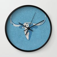 cow Wall Clocks featuring Cow by Saundra Myles