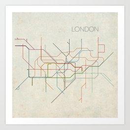 Minimal London Subway Map Art Print