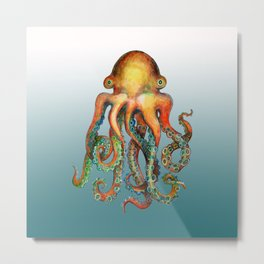 Friendly Little Octopus Metal Print
