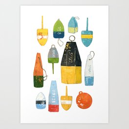 Lobster Buoys Art Print