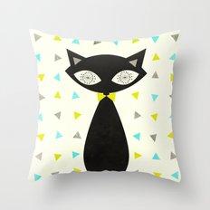Mid Century Cat  Throw Pillow