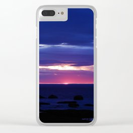 Purple Sunset over Sea Clear iPhone Case
