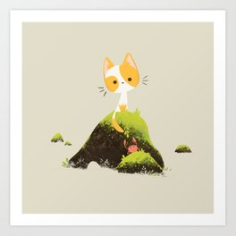 Little cat and crab Art Print