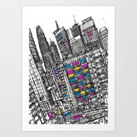 hong kong Art Prints featuring Hong Kong by Martin Mc