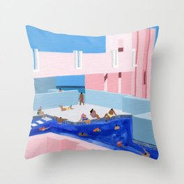 Spain Pool Throw Pillow