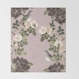 Birds and the Bees Pink Berry Throw Blanket