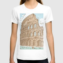 colosseum color hand draw background T-shirt
