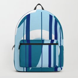 Stripes and Rings in white with blue Backpack