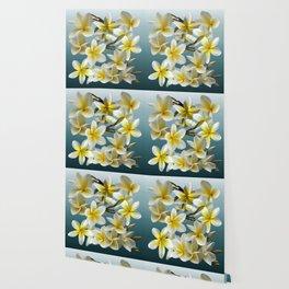 Plumeria on Blue Wallpaper