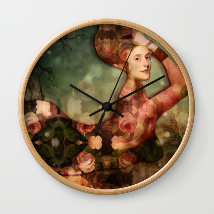 Mermaid among flowers Wall Clock
