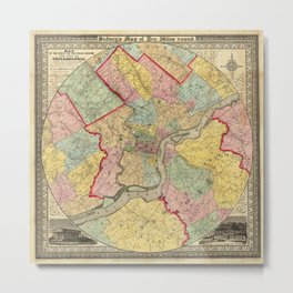Map of Philadelphia 1849 Metal Print