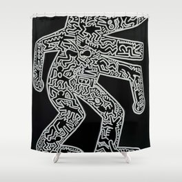 Dog inspired to Keith Haring Shower Curtain
