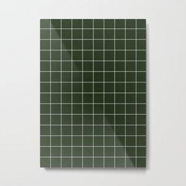 Small Grid Pattern - Deep Green Metal Print