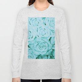 Turquoise roses - flower pattern - Vintage rose Long Sleeve T-shirt