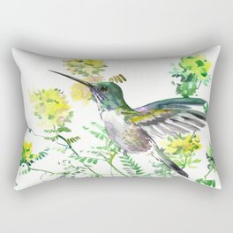 mmingbird design green yew Hummingbird and Yellow Flowers Rectangular Pillow