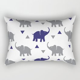 Elephants & Triangles - Gray / Navy Blue Rectangular Pillow
