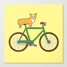Corgi on a bike Canvas Print