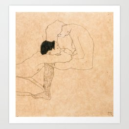 Egon Schiele Lovers Art Print