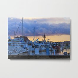 Morning at the marina Metal Print