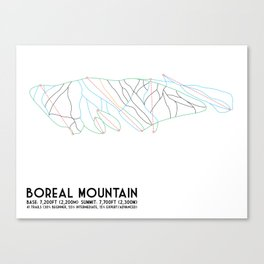 Boreal Mountain, CA - Minimalist Trail Art Canvas Print