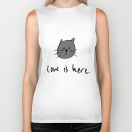 Love is Here (Grey Cat 2) Biker Tank