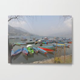 Colorful Boats - Pokhara, Nepal Metal Print