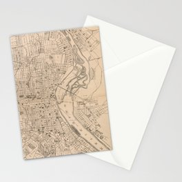Vintage Map of Louisville Kentucky (1873) Stationery Cards