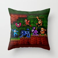 megaman Throw Pillows featuring Megaman Woodman by likelikes