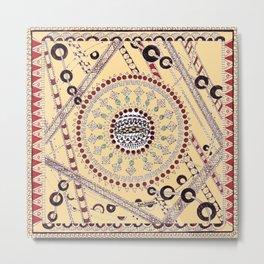 """""""Pillow Talk"""" Zentangle Art desgned for Floor Pillows (Browns)-center3 Metal Print"""