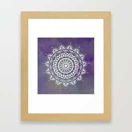 FLORAL WATERCOLOR VIOLET AND WHITE MANDALA  Framed Art Print